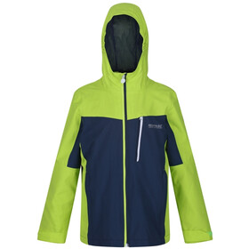 Regatta Highton Giacca shell antipioggia Bambino, electric lime/dark denim
